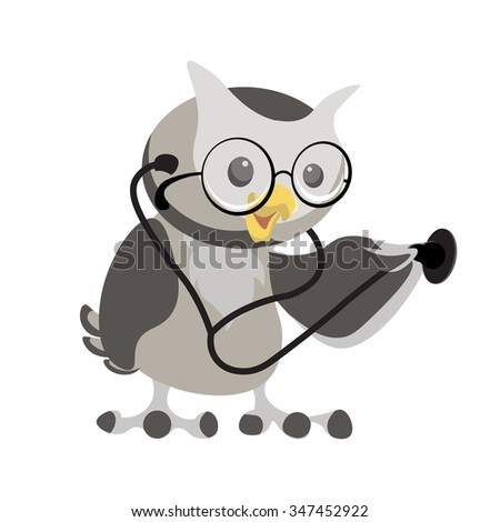 cartoon owl in the glasses with