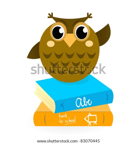 Cartoon Owl with books isolated on white. Wise Owl Mascot with Books. Vector cartoon Illustration.