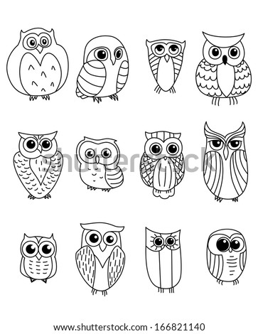 cartoon owls and owlets birds