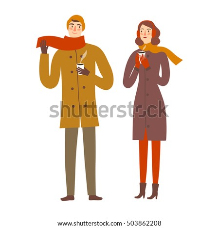 Cartoon pair wearing winter clothes holding hot coffee. Seasonal illustration for your design.