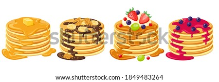 Cartoon pancakes. Stacks of tasty pancakes with maple syrup, butter, chocolate syrup, fruits and jam. Delicious breakfast food vector illustrations. American brunch with berries and nuts Stockfoto ©