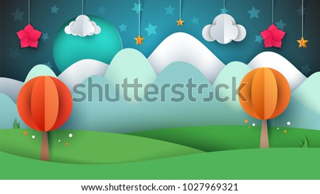 Cartoon paper landscape. Tree, flower, cloud, grass moon star Vector eps 10