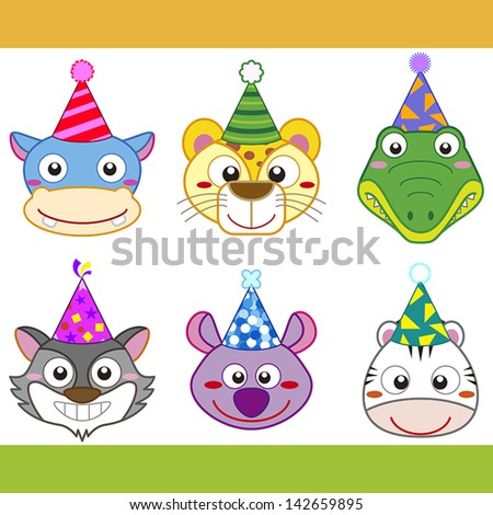 cartoon party animal icons collection.