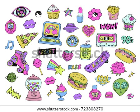 Cartoon patches,stickers or doodle icons set with hand drawn colorful design elements and objects in 80s 90s style. Vector