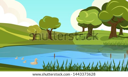 Cartoon Peaceful Scenery View of Riverside Vector Illustration. River Bank Shore, Reed Cane. Blue Water Duck Bird. Countryside landscape. Green Hill Grass Tree. Nature Recreation, Travel, Trip Stockfoto ©
