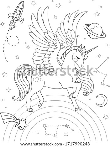 Cartoon pegasus on rainbow with stars, saturn, rocket, constellations and crescent. Vector outline for coloring book