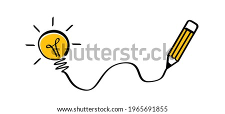 Cartoon pen writing a lamp idea icon. Black pencil line pattern with brush strokes, brushes lines. Vector sign. Faq, Brilliant lightbulb ideas. Education or invention pictogram. Business concept.