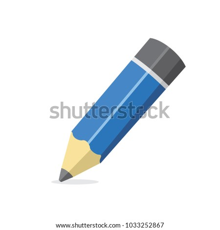 Cartoon Pencil Icon Isolated on White Background, Vector Illustration #1033252867