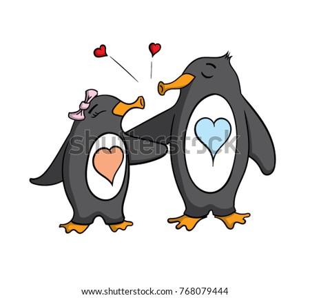 Cute cartoon penguins kissing