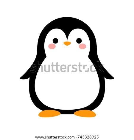 Cartoon Penguin Icon, Vector illustration