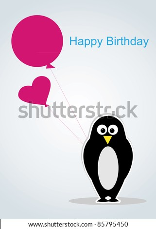 cartoon penguin with balloon.Postcard happy birthday