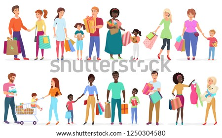 Cartoon people carrying shopping bags with purchases. Men, women and kids characters. Seasonal sale at store, shop, mall vector illustration.