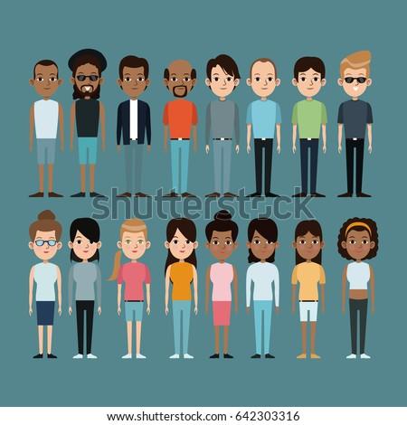 cartoon people caucasian and...