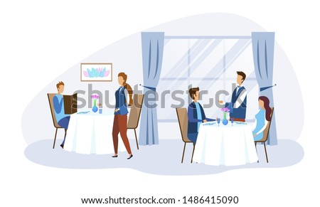 Cartoon People Characters Sitting at Table and Making Food and Drinks Order. Restaurant Staff Serving Clients. Men and Women Spending Time in Futuristic Catering. Vector Flat Illustration
