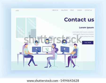Cartoon People Characters Working to Advise Customers at Call-Office. Online Support Offer. Client Helpline and Consultation. Hotline and Help Center. Flat Landing Page. Vector Illustration