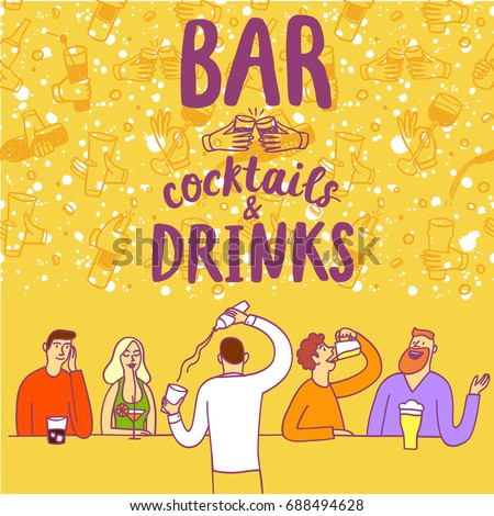 Cartoon people drinking at the bar. Including cocktails and drinks title. Hand drawn colorful vector cartoon illustration for your design.