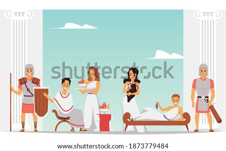 Cartoon people in Ancient Rome at leisure time. Banner of Roman royalty with servants and guards lounging in chairs, vector illustration of historical scene.