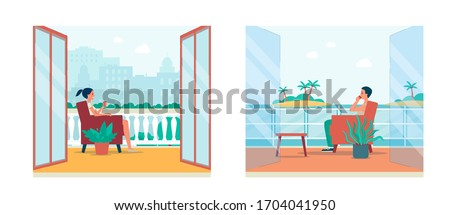 Cartoon people in balcony interior with city landscape and tropical island view - man and woman sitting on chairs on balconies with open doors - flat vector illustration.