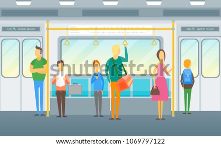 cartoon people in subway train