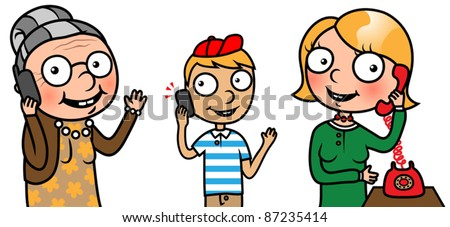 Cartoon people or family members people talking on phone, vector illustration collection - stock vector