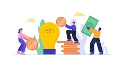 Cartoon people putting money to bulb piggy bank investment into idea or business startup isolated on white. Colorful man and woman working as team crowdfunding concept vector flat illustration