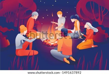 cartoon people sit bonfire at