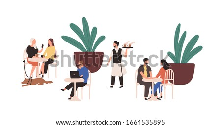 Cartoon people sitting at street cafe vector flat illustration. Colorful couple, man and woman relaxing at outdoors cafeteria isolated on white. Various visitors person spending time together