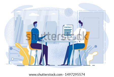 Cartoon People Sitting Table, Man Holding Contract Vector Illustration. Work Employment Application, Business Deal, Insurance, Investment, Mortgage, Loan Paper. Lawer Notary Client Document Sign