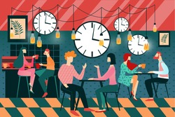 Cartoon People Speed Dating Event in Cafe Vector Illustration. Clock Alarm Timer Symbol. Couple First Date. Boy Girl Meeting. Man Woman at Restaurant Talk, Drink, Chat. Love Relationship