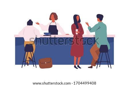 Cartoon people spend time talk at cafe on bar vector flat illustration. Colorful man and woman eat drink and communicate at cafeteria isolated on white. Female waitress personnel stand at counter
