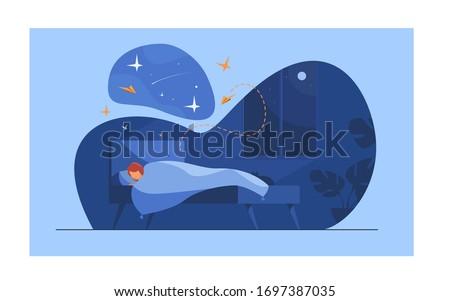 cartoon person sleeping in her