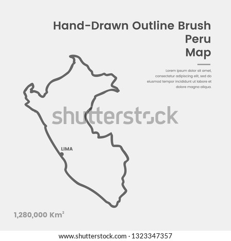 Cartoon Peru Map, Hand Drawn Peru Map, Doodle Peru Map Vector Outline Style Map Information