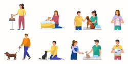 Cartoon pet care concept design. Male and female characters care for pets - walking dog, relaxing with cats, vet visit, hugs a rabbit, aquarium fish. Collection care of animals. Vector illustration