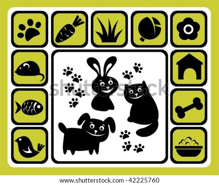 Cartoon pets and his meal isolated on a white background. - stock vector