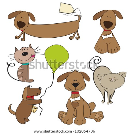 Cartoon pets collection on white background - stock vector