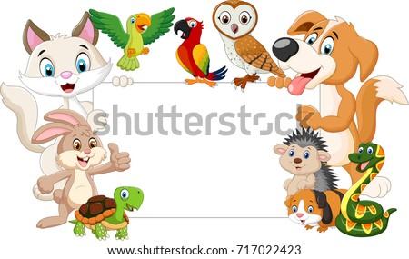cartoon pets holding blank sign