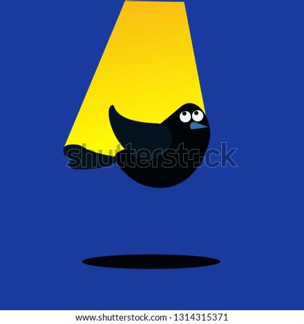 Cartoon picture with home pets, domestic animals, bird, birdie, mockingbird, light above of bird. Vector illustration.