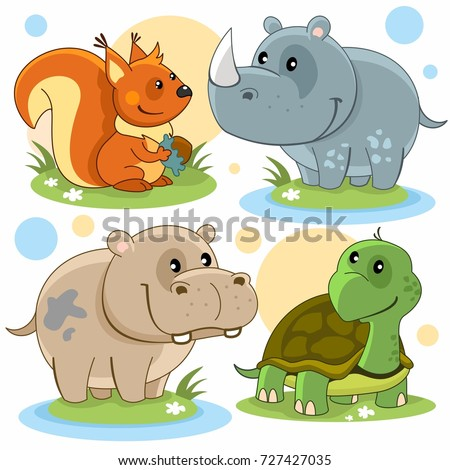 Cartoon pictures depicting squirrels, a hippopotamus, a rhinoceros and a turtle.