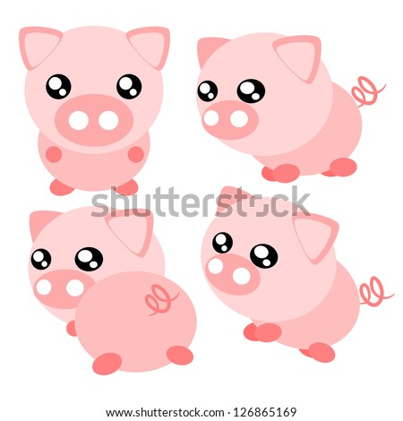 Cartoon pig action and emotion cute concept illustration