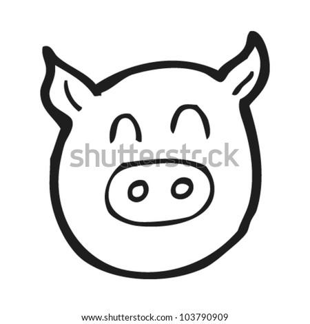 Cute Pig Face Drawing Cartoon Pig Face Stock Vector