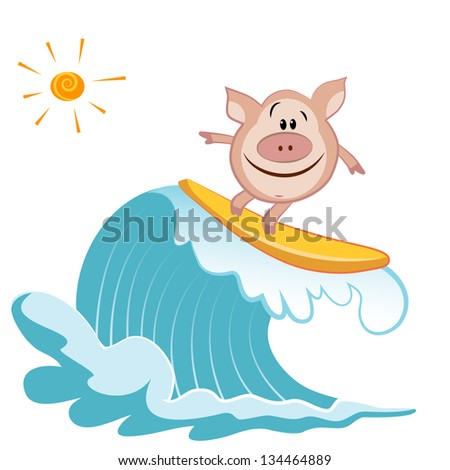 cartoon pig surfer