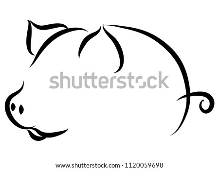 Cartoon Pig symbol, logo, Contour Design.