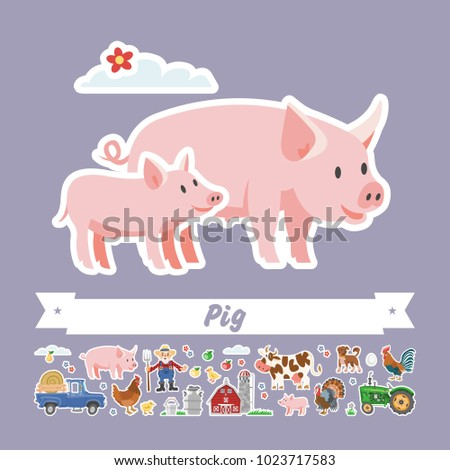 cartoon pig vector flat