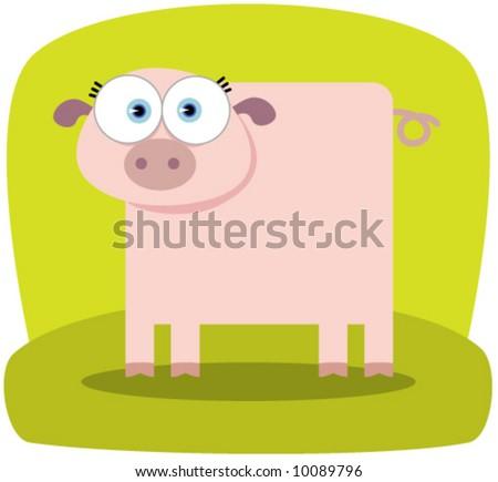Cartoon Pig With Big Eye Stock Vector Illustration ...