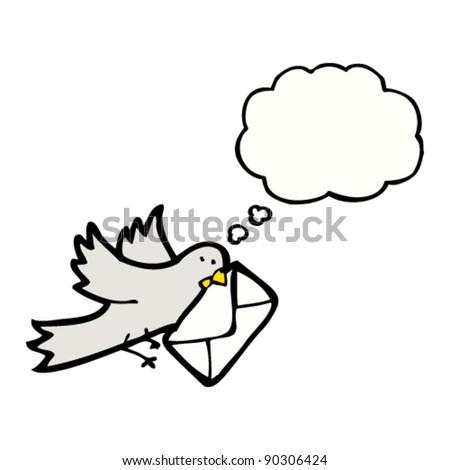 cartoon pigeon delivering letter - stock vector