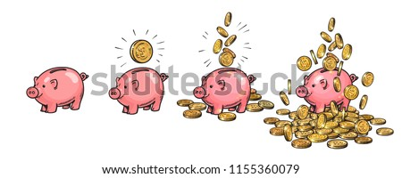 Cartoon piggy bank set. Empty, with one coin, with falling coins, heaped over money. Wealth and success concept. Hand drawn sketch vector illustration isolated on white background.