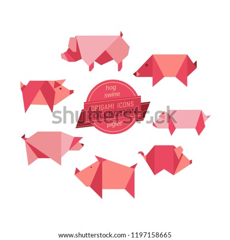 Cartoon pigs icon set. Abstract modern domestic swine animal sign. Craft paper folding origami pig emblem. Template flat geometric logo design. Vector element rectangular shape mammals symbol isolated