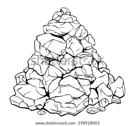cartoon pile of rocks   black