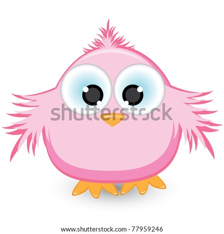 Cartoon pink sparrow. Illustration on white background