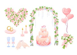 Cartoon pink wedding decoration collection with heart shaped balloons, bride groom jewelry rings, dove birds, cake and decorative flower bouquet Wedding elements vector illustration